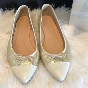J. Crew gold and cream leather flats